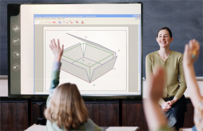 Students in a class responding to the teacher using Cabri 3D